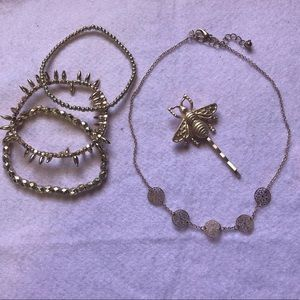 Gold Bracelet, Choker, and Bee Hairpin Set